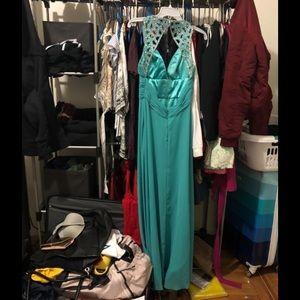 Floor Length Teal Dress